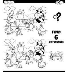 differences coloring task with farm animal vector image