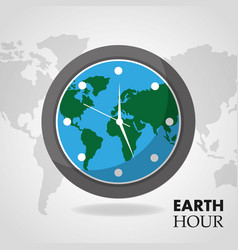 earth hour globe inside clock map background vector image