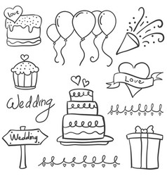 element wedding party in doodle style vector image