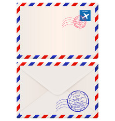 Envelope international air mail with red and blue vector