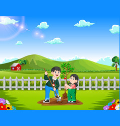 father and daughter planting tree in the park vector image