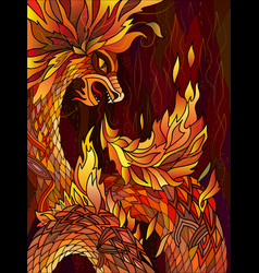 fiery red dragon graphic colorful drawing vector image