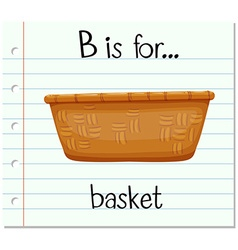 Flashcard letter B is for basket vector