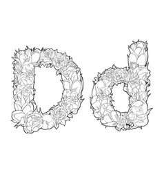 flower alphabet the letter d vector image vector image
