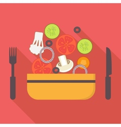 Food and cooking icons vegetarian salad Flat vector image vector image
