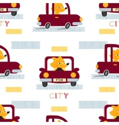 Fox with car seamless pattern vector