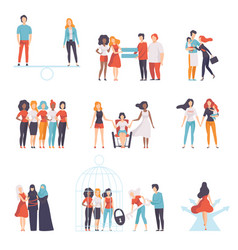 gender equality in society set young women of vector image