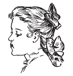 girl face looking left vintage engraving vector image