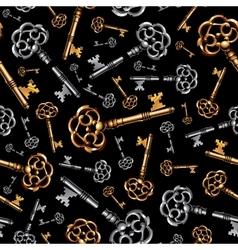 Gold and silver vintage keys on black background vector image