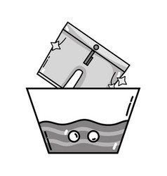 Grayscale clean shorts soaking in pail with water vector