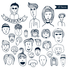 hand-drawn people crowd doodle collection of vector image