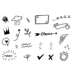 Hand drawn set elements for concept design cute vector