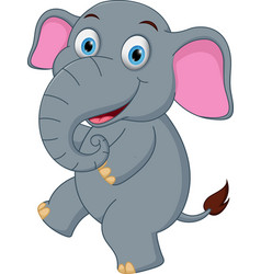 Happy elephant cartoon dancing vector