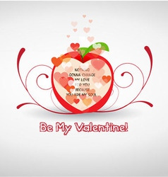 Happy valentine greetings with apple vector image