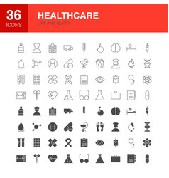 healthcare line web glyph icons vector image