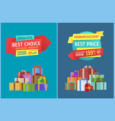 Hot price and super offer set vector