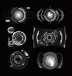 Hud interface radar monochrome set vector