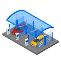 isometric car washing service innovative self vector image