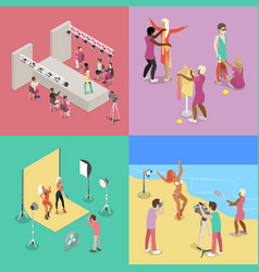 Isometric fashion show photographer model vector