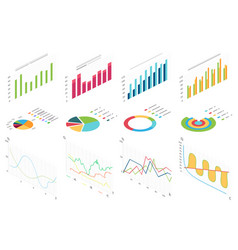 isometric flat data finance graphic business vector image
