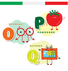 italian alphabet glasses tomato picture vector image
