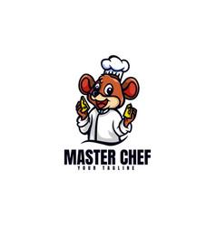 Logo master chef mouse mascot cartoon style vector