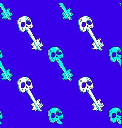 magic skull key seamless pattern vector image