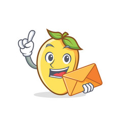 Mango character cartoon mascot with envelope vector