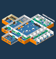 Mental hospital isometric interior vector
