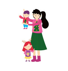 merry christmas mom and kids with ugly sweater vector image