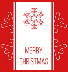 Merry christmas red greeting card with snowflakes vector