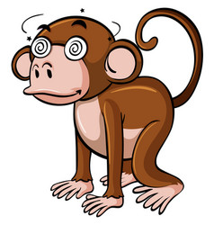 Monkey with dizzy eyes on white background vector