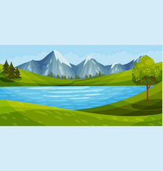 Mountain peaks river and clear sky as green vector