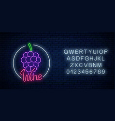 neon glowing sign wine store in circle frame vector image