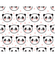 panda pattern with hearts vector image