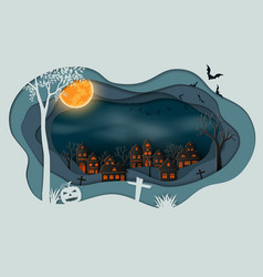 paper art of happy halloween vector image
