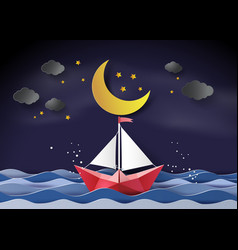 Paper sailing boat floating on the sea vector