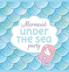 Party invitation glittered fish scales kawaii vector