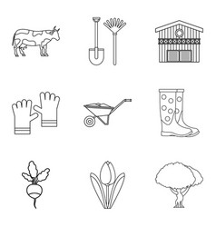 Peasant farm icons set outline style vector
