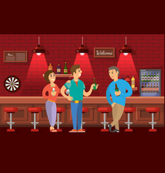 people talking in bar friends meeting in pub vector image