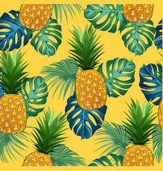 Pineapple seamless pattern with tropical leaves vector