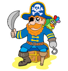 pirate sitting on treasure chest vector image