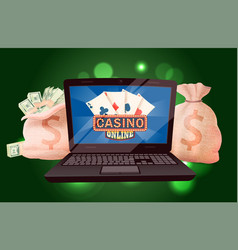 Prize money bag casino game computer vector