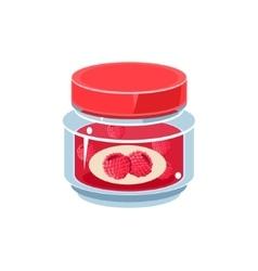 Raspberry Jam In Transparent Jar vector