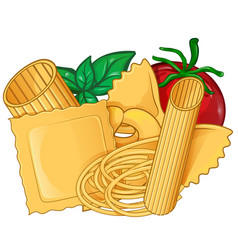real italian pasta foodwith basil and tomato vector image