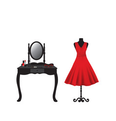 Red dress on mannequin and dressing table vector
