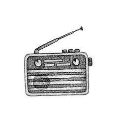 Retro radio dotwork vector