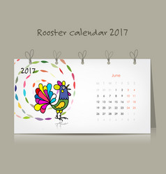 rooster calendar 2017 for your design vector image