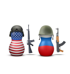 Russian and USA military dolls vector