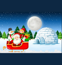 santa at the winter landscape vector image